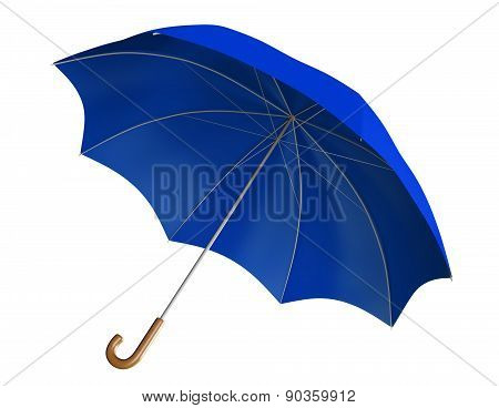 Blue umbrella or parasol with classic curved handle