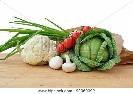 Fresh Vegetables In Paper Bag
