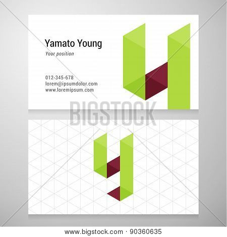 Modern Letter Y Origami Business Card Template