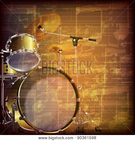 Abstract Grunge Music Background With Drum Kit