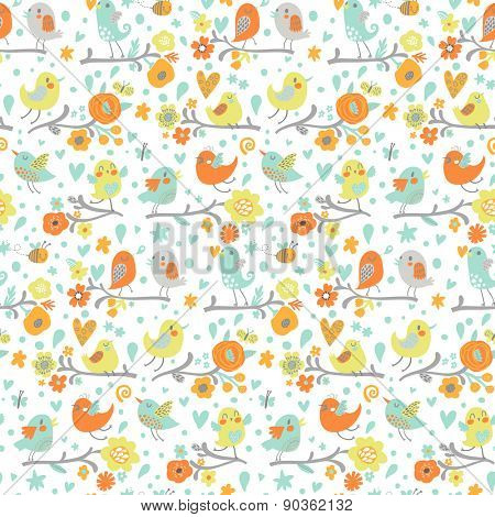 Awesome seamless pattern made of cute cartoon birds on branches. Lovely background in spring bright colors. Sweet clear design for summer advertisement
