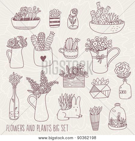 Flowers and plants big set in vector. Vintage background with sweet flowers, lovely plants and cute rabbit