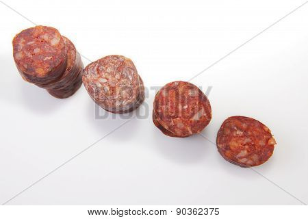 Some Slices Of Red Iberian Chorizo