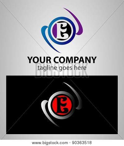 Abstract icon logo for letter E