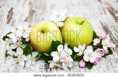 Apples  And Apple Tree Blossoms