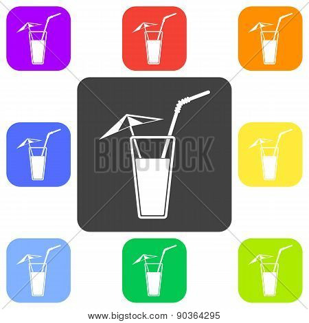 Alcohol Drink Icon. Vector Illustration. Cold Summer Cocktail