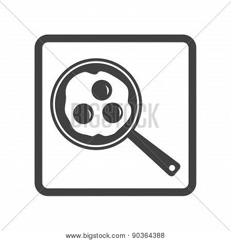 Vector illustration of scrambled eggs in skillet icon on white b