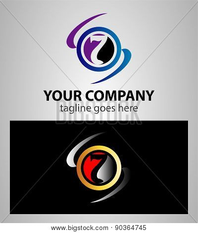 Number seven 7 logo icon template elements
