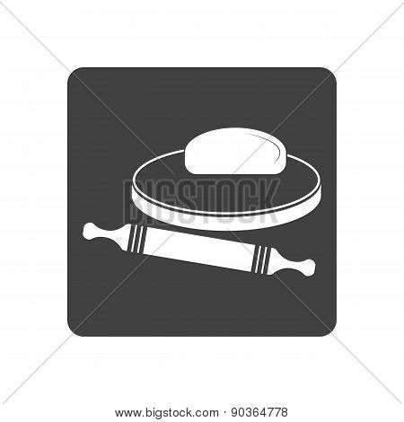 Vector illustration of dough and rolling pin on a wooden board.