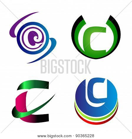 Letter C logo company vector letter C icon set