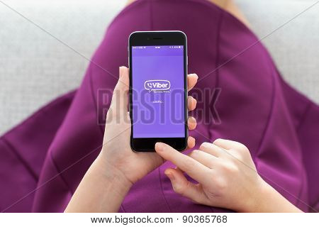 Woman Holding Iphone 6 With Viber On The Screen