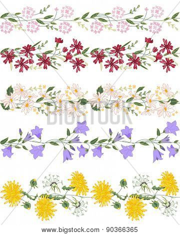 Seamless pattern brush with stylized bright summer flowers. Endless horizontal texture. Wild flowers - dangelion, daisy, campanula and others