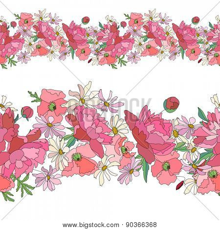 Seamless pattern brush with stylized bright summer flowers. Endless horizontal texture. Pink and red colors. Poppy,daisy and peony.