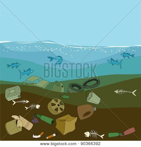 Water pollution in the ocean. Garbage,waste. Eco concept.