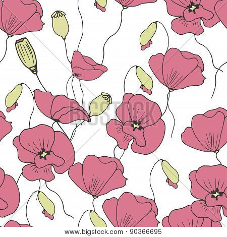 Floral seamless pattern with doodle poppies.