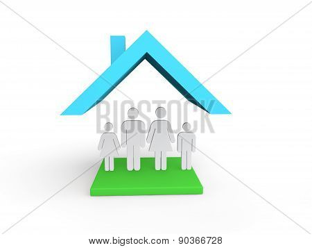 3d house with family
