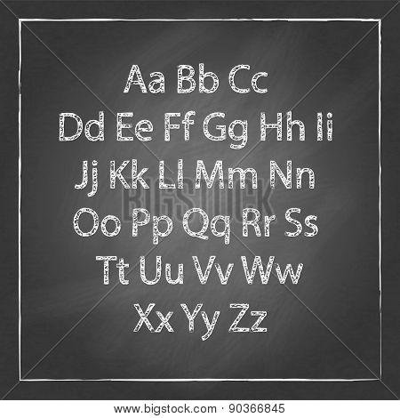 Vector Illustration Chalk Sketched Characters Blackboard Background
