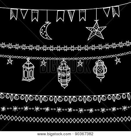 Set Of Doodle Chalk Garlands, moon, Stars, Flags, Arabic Lanterns