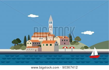 Mediterranean Landscape By Sea, Little Town, Resort, Beach, Vector