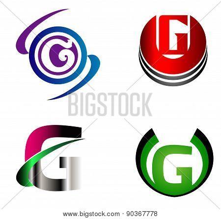 Letter G logo template design vector set