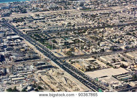 Aerial view of Dubai city, United Arab Emirates