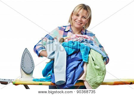 Beautiful Happy Woman Housewife Holding Pile Of Laundry For Ironing