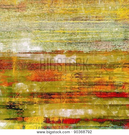 Background with grunge stains. With different color patterns: yellow (beige); gray; green; red (orange)