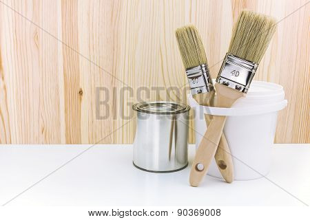 Paintbrushes With Cans