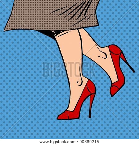 Female legs in red shoes woman coat goes pop art comics retro st
