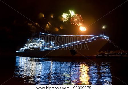 Military Russian Ship And Salute