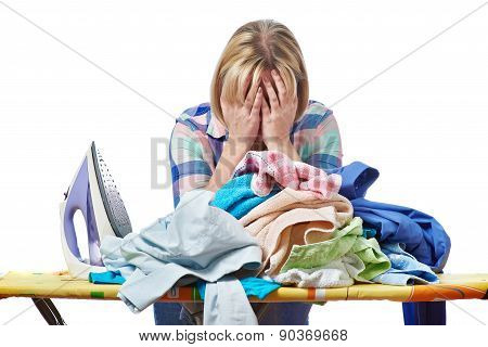 Tired Woman Housewife Ironed Clothes Isolated