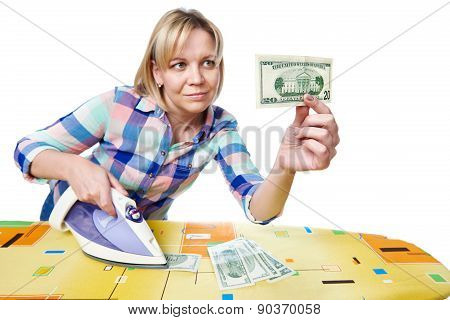 Beautiful Woman With Dollars And Iron
