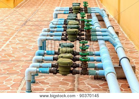 Rusted Water Valves And Old Water Meters System