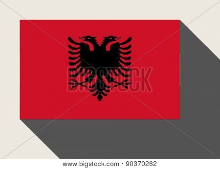 Albania flag in flat web design style.