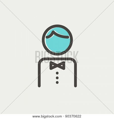 Waiter icon thin line for web and mobile, modern minimalistic flat design. Vector icon with dark grey outline and offset colour on light grey background.