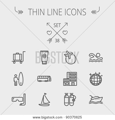 Travel thin line icon set for web and mobile. Set includes- yacht, oxygen tank, snorkel with mask, luggage, hotel, sailboat, plane icons. Modern minimalistic flat design. Vector dark grey icon on