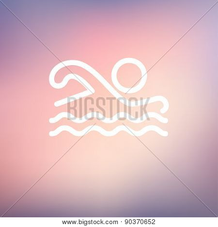 Swimmer icon thin line for web and mobile, modern minimalistic flat design. Vector white icon on gradient mesh background.