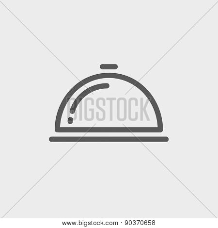 Food cover icon thin line for web and mobile, modern minimalistic flat design. Vector dark grey icon on light grey background.