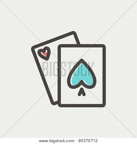 Playing cards icon thin line for web and mobile, modern minimalistic flat design. Vector icon with dark grey outline and offset colour on light grey background.