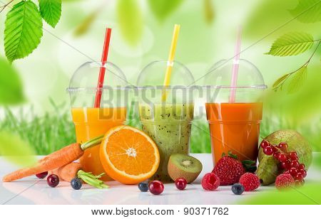 Fresh juice mix fruit, healthy drinks on white table.