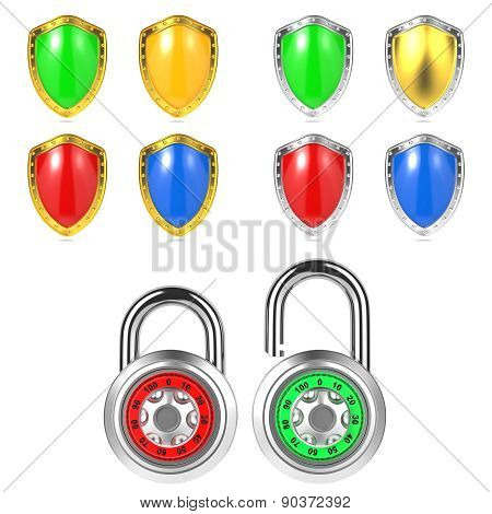 Set of Colored Shields and Padlock. Isolated on White.