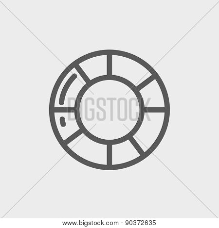 Life preserver icon thin line for web and mobile, modern minimalistic flat design. Vector dark grey icon on light grey background.