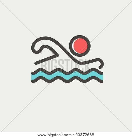 Swimmer icon thin line for web and mobile, modern minimalistic flat design. Vector icon with dark grey outline and offset colour on light grey background.