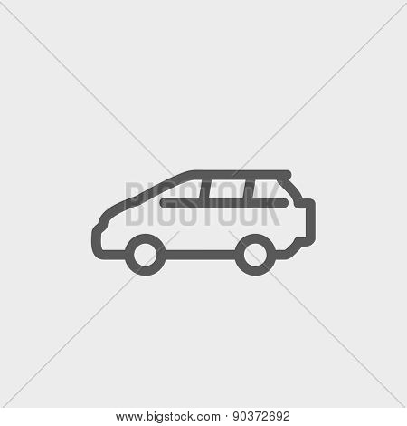 Minivan icon thin line for web and mobile, modern minimalistic flat design. Vector dark grey icon on light grey background.