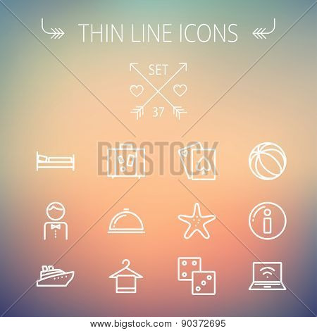 Travel thin line icon set for web and mobile. Set includes-luggage, food cover, towel on a hanger, bed, waiter, beach ball, starfish, cruise ship icons. Modern minimalistic flat design. Vector white