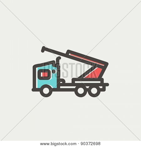 Towing truck icon thin line for web and mobile, modern minimalistic flat design. Vector icon with dark grey outline and offset colour on light grey background.