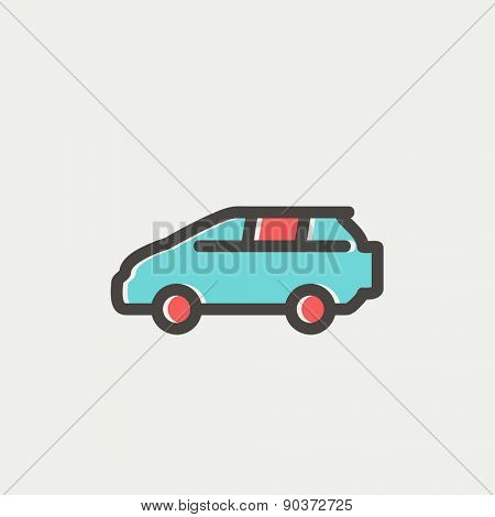 MInivan icon thin line for web and mobile, modern minimalistic flat design. Vector icon with dark grey outline and offset colour on light grey background.
