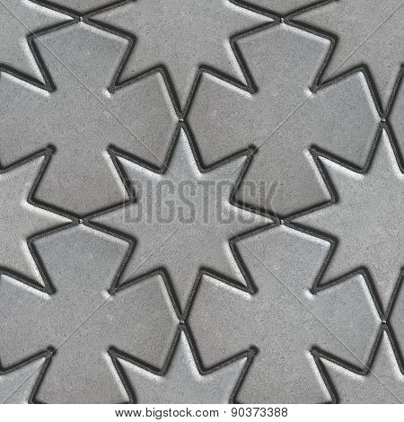 Gray Paving Slabs Laid in the Form of Stars and Crosses.