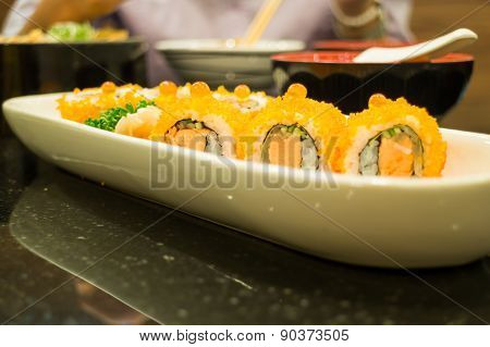 Smoked Salmon Sushi Roll On Plate
