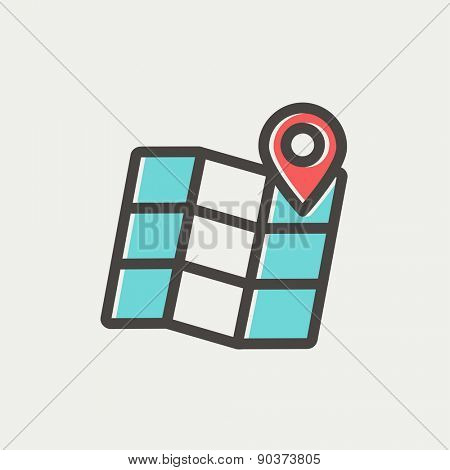 Folded map with pin icon thin line for web and mobile, modern minimalistic flat design. Vector icon with dark grey outline and offset colour on light grey background.